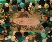 """French Themed Button Picture Frame in Black, White & Aqua for 4""""x6"""" photo"""