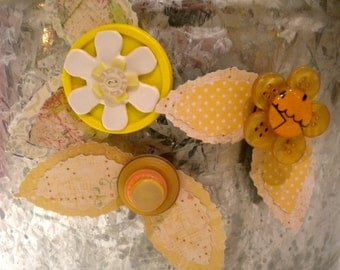 Yellow Button Flower Magnets ~ Desk Accessories ~ Gift for Girl ~ Gift for Her ~ Shower Gift ~ Shabby Chic Decor ~ Girls Bedroom Decor