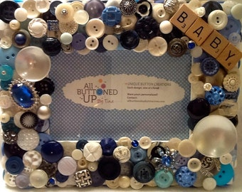 BABY BOY Button Frame in Blue and White ~ Baby Shower Gift ~ Nursery Gift ~ Baby Gift ~ Cottage Decor ~ Shabby Chic ~ for 4x6 Photo