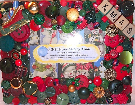 """Christmas Button Picture Frame in Red & Green for 4""""x6"""" Photo"""