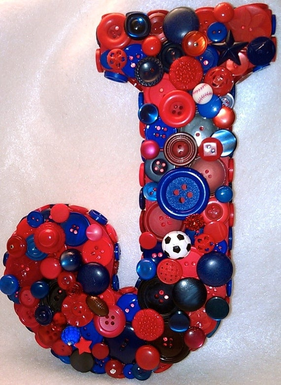 CUSTOM Button Initial ~ Red and Blue Button J ~ Gift for Boy ~ Boy Bedroom Decor ~ Personalized ~ Baby Shower Gift ~ Shabby Chic Art