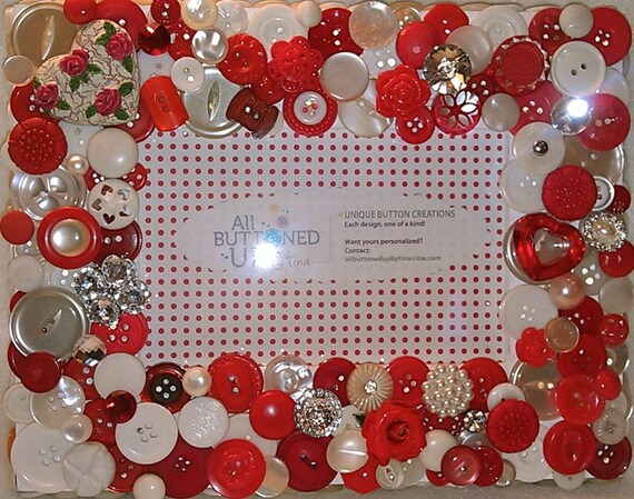 "Valentines Day Heart Themed Button Picture Frame in Red & White for 4""x6"" photo"