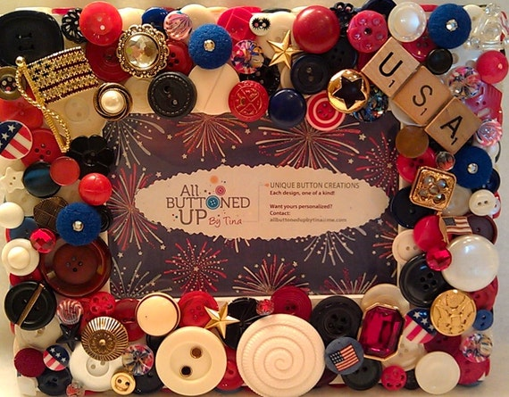 USA Button Frame ~ Patriotic Frame ~ Fourth of July Frame ~ Red White Blue ~ Flag Frame ~ Boho Art ~ American Frame ~ for 4x6 photo