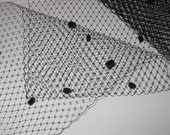 BLACK - French netting with chenille dots - 9-inch wide - for DIY birdcage veils