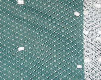 White - 9-inch wide French netting with chenille dots