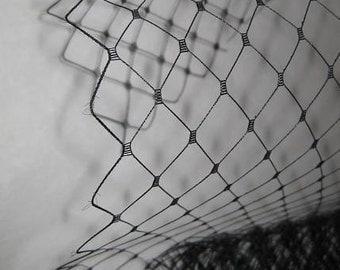 Black  English Merry Widow Veiling - 1  yard For DIY birdcage veils, fascinators and hats