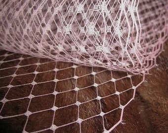 SOFT PINK -  French netting - 9-inch wide, for DIY birdcage veils, fascinators