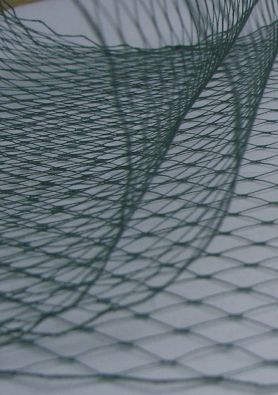 Hunter Green  -  French netting fabric - 9 inch wide -  for DIY birdcage veils and fascinators