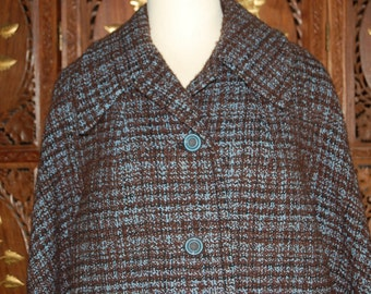 Vintage 1960s Periwinkle & Brown Tweed Boucle Wool Coat  Sz L
