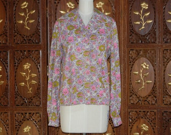 Vintage 1970s Malcolm Starr by Rizkallah Floral Cotton Shirt