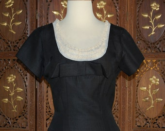 Vintage 1950s LBD with Ruffled Bodice