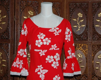 Vintage 1970s French Red and White Cotton Floral Evening Dress UK8
