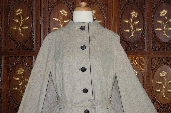 Vintage Gemini 100 per cent Taupe Brown Wool  Cape Coat