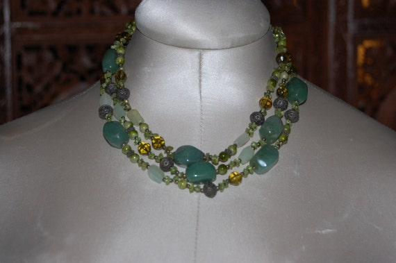 Glass  Beaded Necklace green triple strand