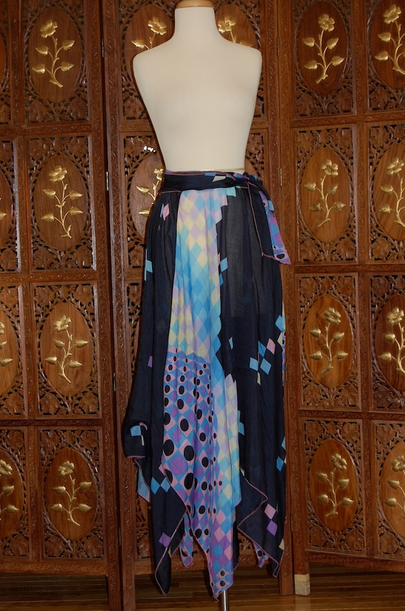 Vintage 1970s David Silverman Multi-Colored Patterened Scarf Skirt
