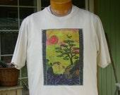 Sunset Over the Ocean Cliffs mens t shirt original design silkscreen L/M