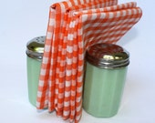 8 Cloth Picnic Napkins - Orange Gingham