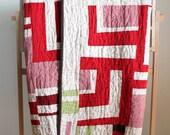 Red and White Linen Modern Quilt. Handmade Home Decor.