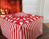 Hearts and Stripes Toddler Tuffet. Red and White Scandinavian Print Pouffe.