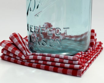 Red Gingham Cloth Picnic Napkins. BBQ Napkins. Red Fabric Holiday Napkins