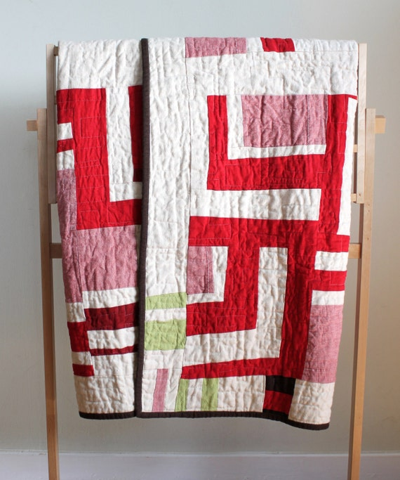 Red and white linen modern quilt handmade home decor for Modern house quilts