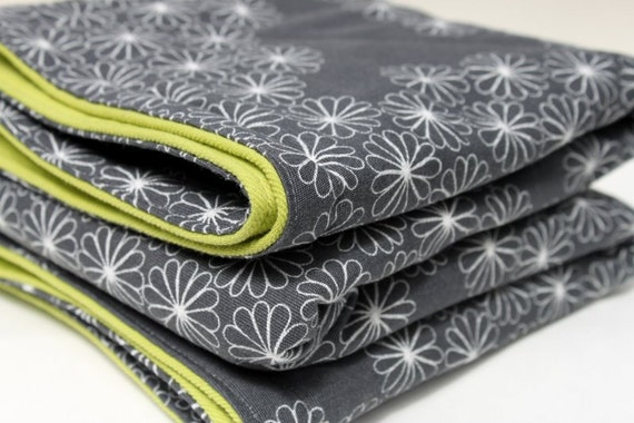 Padded Baby Floor Play Mat Modern Print In Grey With Green