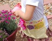 Upcycled Yellow and Pink Quilted Gardening Apron