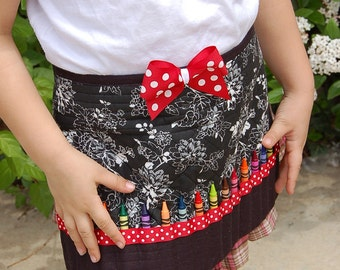 Black and White Upcycled Crayon Apron