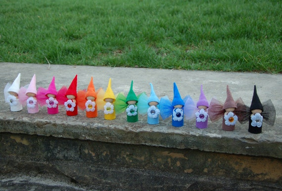 Complete set of 12 Rainbow Flower Fairy Dolls