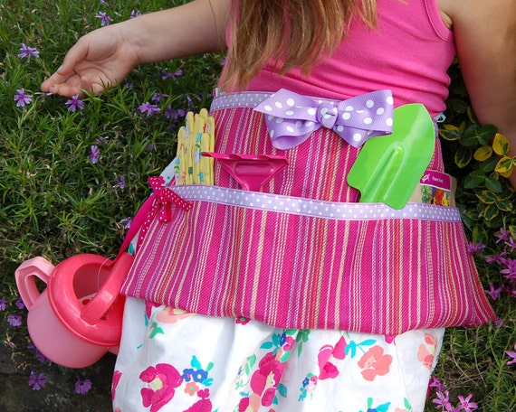 Upcycled Pink and Purple Garden Apron
