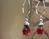 Red Czech Faceted Drop Earrings - Pomegranates
