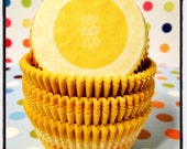 30 Pretty and Unique Mustard Yellow Fleur de Lys Flower Cupcake or Muffin Liners