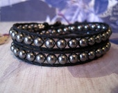 Gonna Get My Gunmetal Crystal Pearls on Cotton Cord Double Wrapped Bracelet