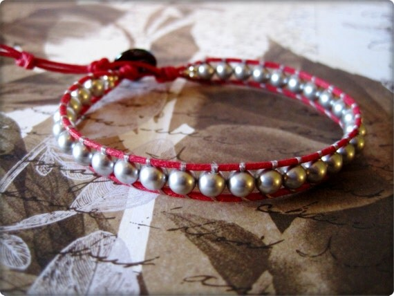 Beatrix Crystal Pearl on Red Cord Wrapped Bracelet