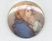 1 Piece - 30mm Round Vintage Glass Madonna Cameo (4016)