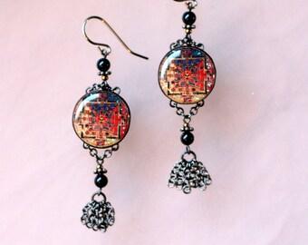 Mandala Earrings (red/yellow/blue)
