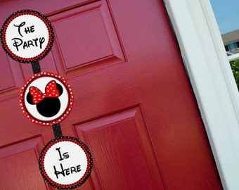 Minnie Mouse Red Welcome Door Sign Party Printable - Stick to Your Story