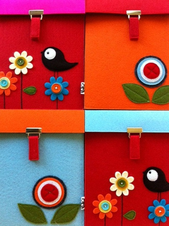 READY TO SHIP--Sale-- Ipad Case Sweet Tweet Collection in Red--Blue flap No.6