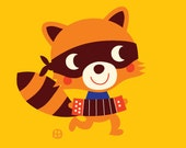 Racoon with accordion