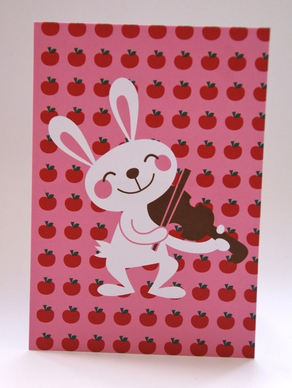 Postcard Bunny with fiddle