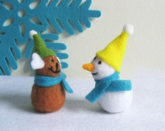 Wool Felt Snowman And Reindeer. Set Of Two. Christmas Ornaments.