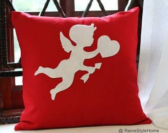 Cupid Sending Love Red And White Christmas Pillow Cover. Pick Your Color! Children Room Decor