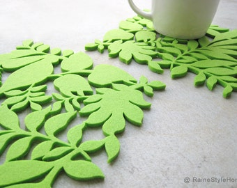 Summer Leaves Summer Ferns Refreshing Green Felt Coasters. Set Of Two. Nature Lovers