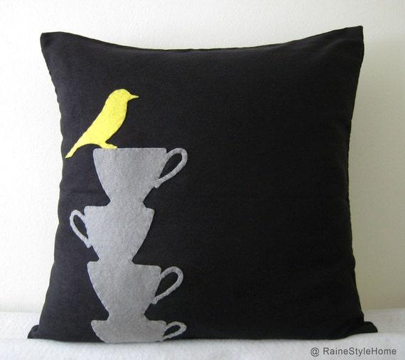 Yellow Bird Resting On Teacups Black Pillow Cover. Tea Time. Modern. Grey