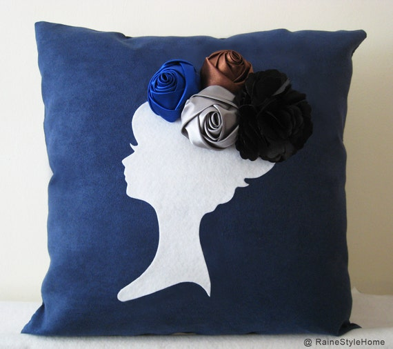 Thinking Of Midnight Blossom Navy and White Pillow Cover. Dreamy. Decorative Rosettes