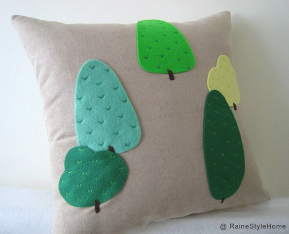 Modern Trees Beige Pillow Cover. Green Woodland. Nature Lovers