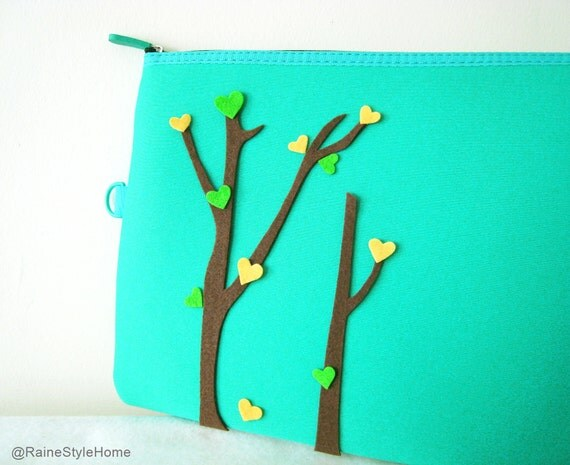 Love Trees Blossom Forest Green Padded Pouch. Ipad Case Ipad Pouch. Document Zipper Pouch