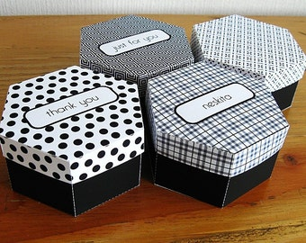 Printable hexagonal box - custom text and pattern
