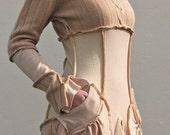 Caramel Beige Cashmere Upcycled Sweater Dress                           Made in England UK