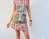 Upcycled Shirt Dress Red Plaid & Beige Stripes                 Made in England UK